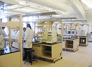 Photo of students in synthetic chemistry instrument room