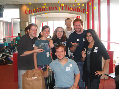 photo of chemistry majors and Karen Stump at the Science Center for National Chemistry Week